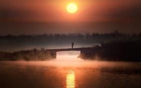 Картинка река, закат, пейзаж