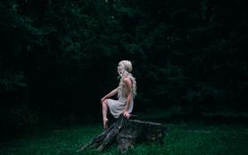 Картинка лес, девушка, блондинка, локоны
