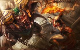 Картинка монстр, арт, битва, цепи, Kratos, God of War