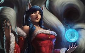 Обои взгляд, девушка, магия, ушки, art, league of legends, хвосты