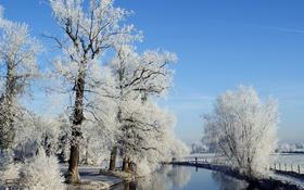 Обои зима, небо, снег, природа, река, фото, забор