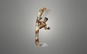 Картинка кикбоксер, минимализм, человек, удар, fighter, боец, каратист