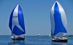 Обои озеро, лодка, яхта, парус, регата