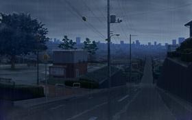 Картинка небо, ночь, город, дождь, дома, аниме, знаки