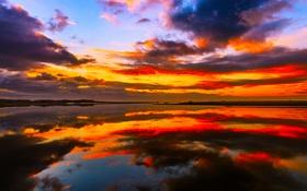 Обои облака, небо, зарево, природа, вода, отражение, краски
