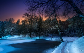 Картинка зима, ночь, природа