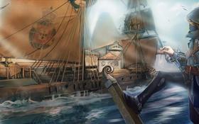 Обои арт, assasins creed, корабль, ассасин, море