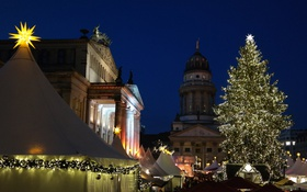 Обои Германия, площадь, Рождество, Берлин, ярмарка, Жандарменмаркт, Концертный дом