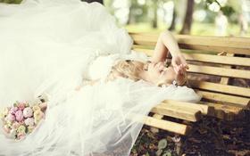 Картинка цветы, скамейка, букет, блондинка, фата