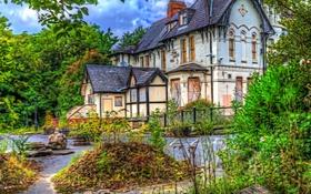 Обои зелень, деревья, дом, Англия, обработка, отель, Alderley Edge