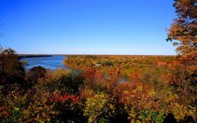 Обои лес, осень, Канада, деревья, небо, краски, река Ниагара