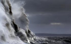 Картинка маяк, море, волна