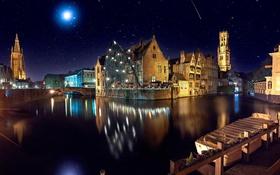 Обои ночь, мост, река, замок, луна, здание, освещение