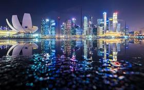 Обои отражения, ночь, огни, вечер, Сингапур
