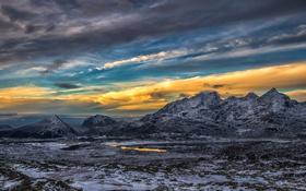Картинка облака, снег, закат, горы, озеро, зарево