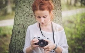 Картинка девушка, камера, фотоаппарат, рыжая