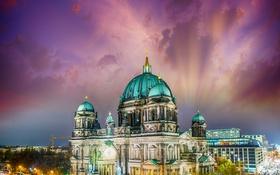 Обои ночь, город, ночные огни, Германия, храм, Germany, night