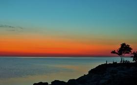 Картинка море, небо, облака, деревья, закат, скалы, берег