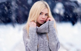 Картинка Girl, Sasha, Winter, Snow, Blonde, View, Lips