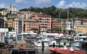 Обои горы, дома, яхты, лодки, Италия, церковь, гавань