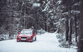 Обои BBS, BMW, E36, Дорога, Зима, Деревья, Лес