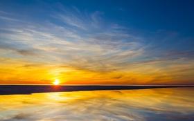 Картинка пляж, небо, облака, озеро, отражение, восход, зеркало