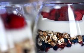Обои ягоды, малина, еда, завтрак, мюсли, йогурт