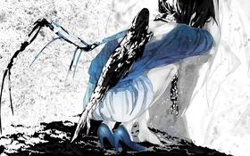 Картинка девушка, крылья, аниме, арт, ошейник, цепи, mizutame tori