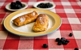 Обои стол, ягода, тарелка, блины, десерт, скатерть, масленица