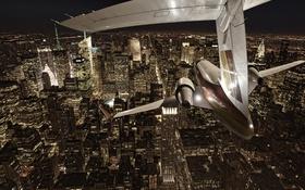 Обои ночь, город, самолёт, Нью Йорк