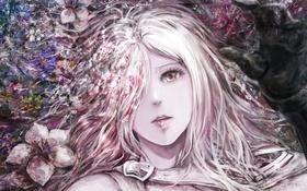 Обои yamamoto ari, арт, аниме, рука, цветы, девушка