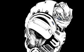 Картинка воин, mass effect, art, krogan, grunt, Urdnot Grunt