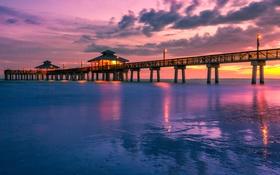 Обои море, небо, облака, закат, огни, Флорида, пирс