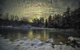 Картинка вечер, озеро, лес, зима