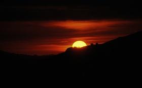 Картинка небо, солнце, закат, силуэт