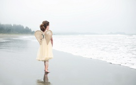 Обои море, ангел, девочка