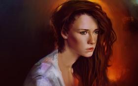 Картинка взгляд, девушка, фон, арт, рыжая, зеленые глаза