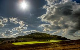 Обои небо, солнце, облака, поля, Германия, леса, Wassenach