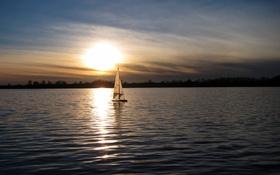 Картинка ночь, озеро, лодка, парус