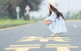 Картинка дорога, платье, шляпка, восточная девушка