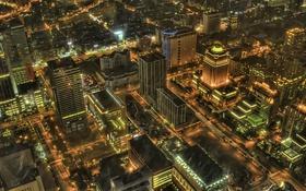 Картинка ночь, огни, дома, Китай, Тайвань, небоскрёбы, улицы