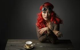 Картинка портрет, очки, студия, красные волосы