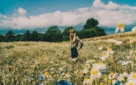 Картинка girl, blouse, sky, field, flowers, clouds, hair