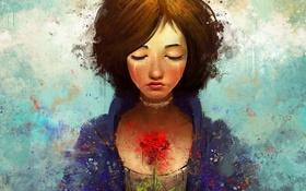 Обои цветок, девушка, роза, слезы, арт, Bioshock, art