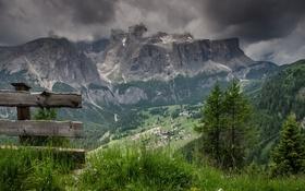 Обои скамья, горы, пейзаж