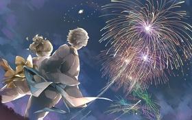 Картинка небо, девушка, ночь, аниме, арт, фейерверк, парень