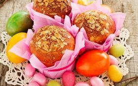 Обои яйца, Пасха, cake, кулич, выпечка, Easter, кексы
