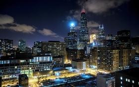 Обои Chicago, Америка, USA, Небоскребы, Чикаго, Ночь