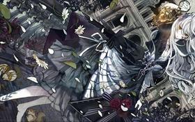 Картинка животные, листья, девушка, цветы, мост, дом, кровь