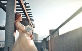 Картинка девушка, цветы, невеста
